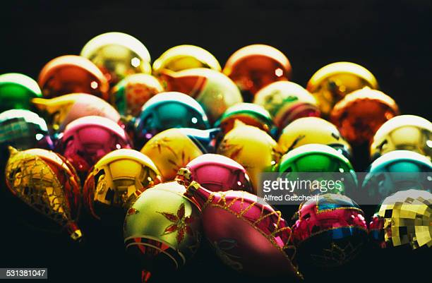 Pile of Christmas baubles, circa 1985.