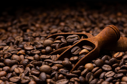 Pile of coffee beans with wooden scoop, close up, dark background with copy space, shallow depth of field 1139741745