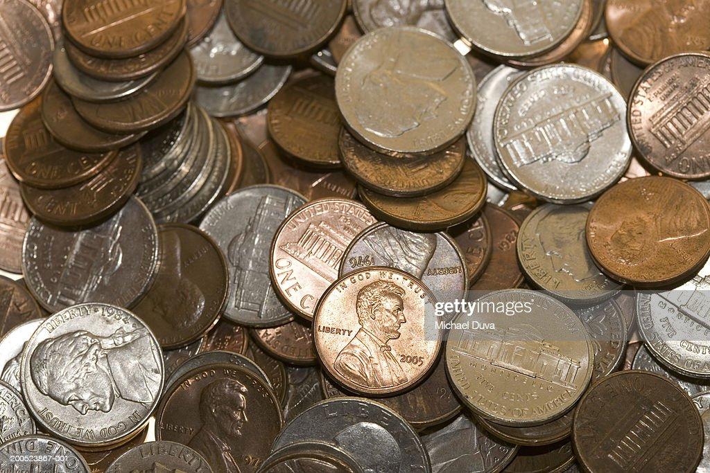 Pile of coins, full frame : ストックフォト