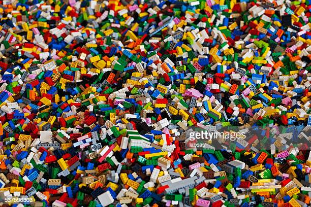 Pile of colorful Lego bricks.