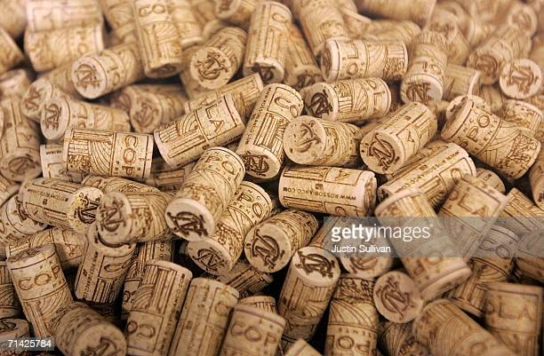 A pile of corks intended for bottles of Francis Coppola Bianco Pinot Grigio are seen July 12 2006 at the St Supery Winery in Rutherford California A...