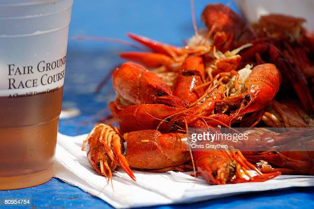 A pile of crawfish heads sit on a table during the New Orleans Jazz and Heritage Festival at the Fair Grounds Race Course on May 1 2008 in New...