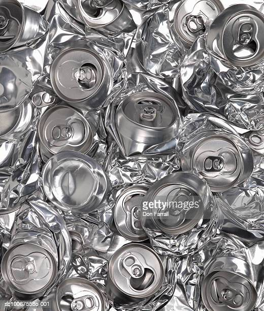 Pile of crushed aluminium cans, studio shot
