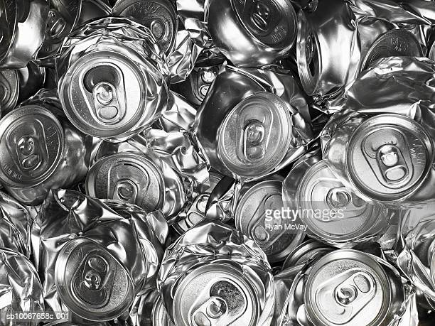 pile of crushed drink cans - tin can stock pictures, royalty-free photos & images