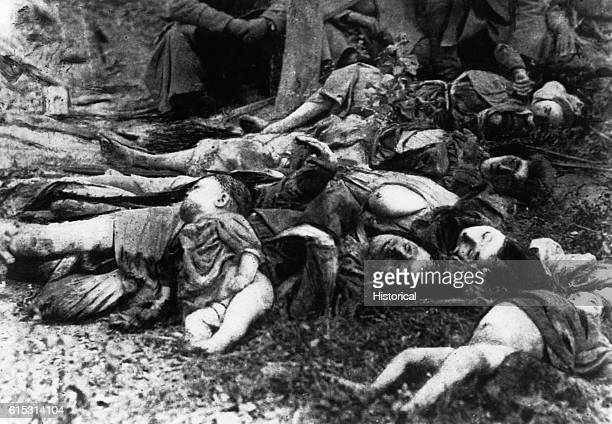 A pile of dead Serbian peasants purportedly murdered by Austrian soldiers during World War One