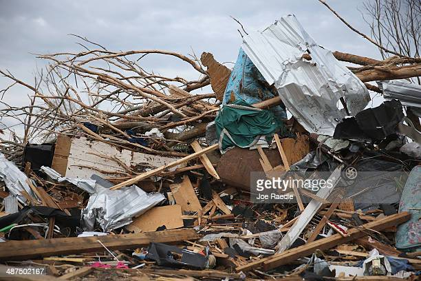 A pile of debris is shown after a tornado on April 28 destroyed a neighborhood on April 30 2014 in Louisville Mississippi A string of deadly...