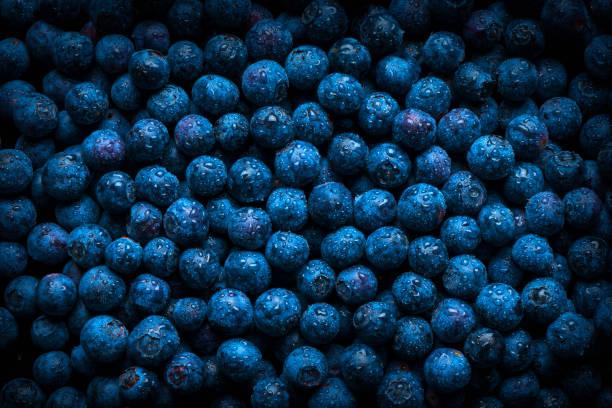 pile of fresh wet blueberries - 藍莓 個照片及圖片檔