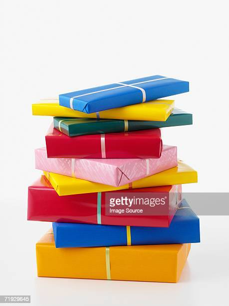 pile of gifts - birthday present stock pictures, royalty-free photos & images