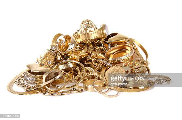 pile of gold jewelry - heap stock pictures, royalty-free photos & images