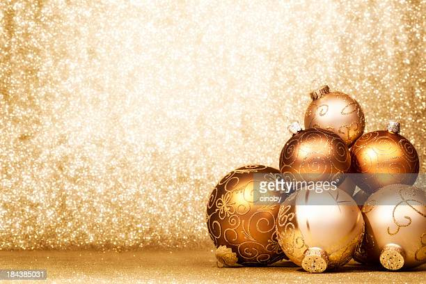Pile of Golden Christmas Baubles