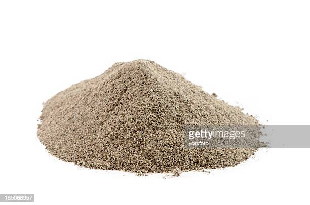 Pile of ground black pepper isolated on white
