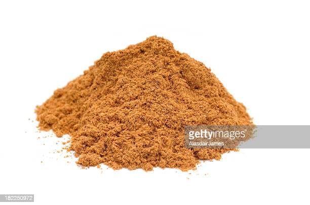Pile of ground cinnamon on white background