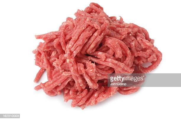 A pile of ground meat on a white background
