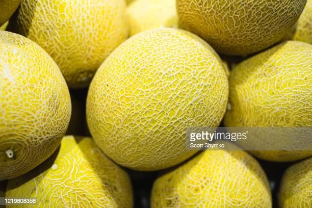 a pile of honeydew melon on display - muskmelon stock pictures, royalty-free photos & images