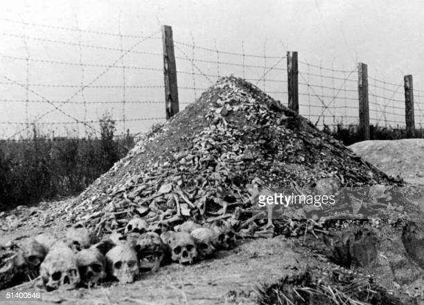 A pile of human bones and skulls is seen in 1944 at the Nazi concentration camp of Majdanek in the outskirts of Lublin the second largest death camp...