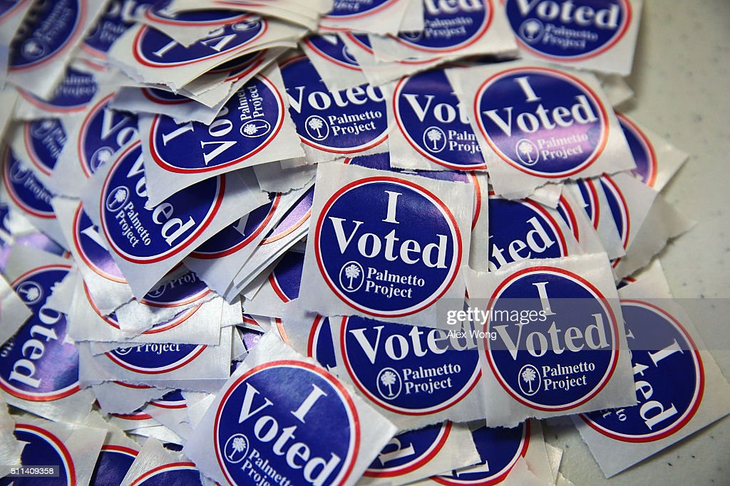 A pile of 'I Voted' stickers is seen at a polling station at Hand Middle School February 20, 2016 in Columbia, South Carolina. Residents of South Carolina picked their candidate in the state Republican primary today.