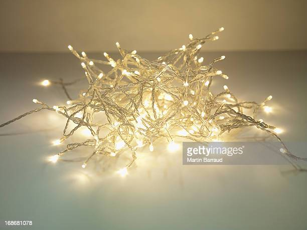 Pile of illuminated string lights