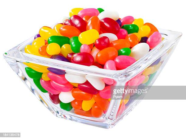 Pile of jelly beans in a candy bowl