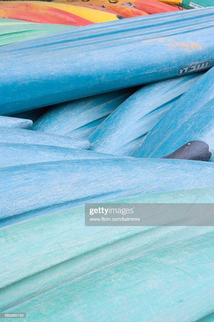 Pile of kayaks : Stock Photo