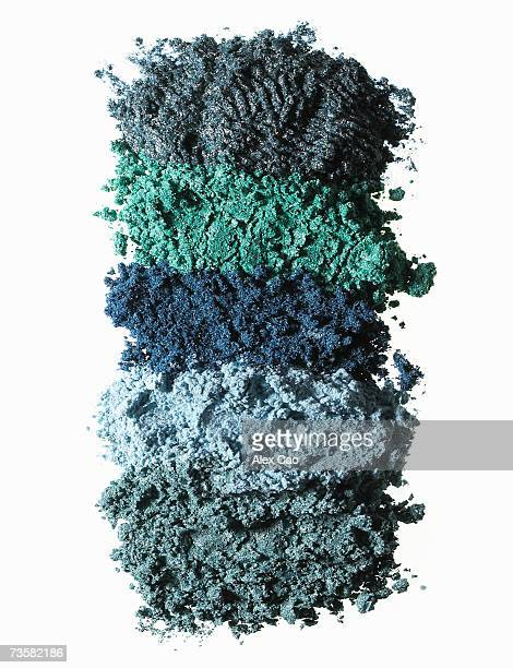 Pile of layers of blue eye shadow