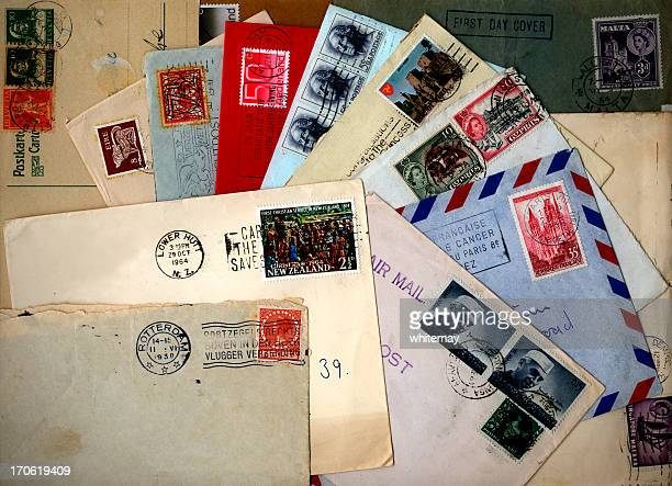 collection of international envelopes - postage stamp stock pictures, royalty-free photos & images