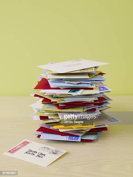 pile of letters to santa - message stock pictures, royalty-free photos & images