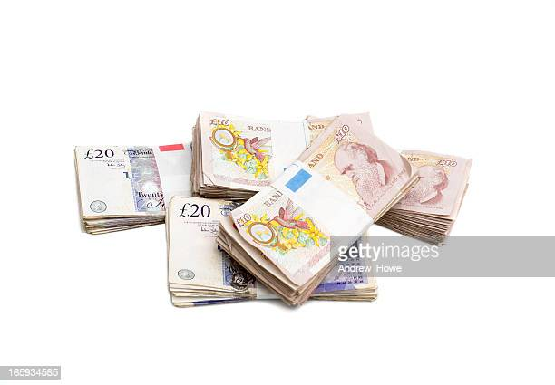 pile of money - british pound sterling note stock pictures, royalty-free photos & images