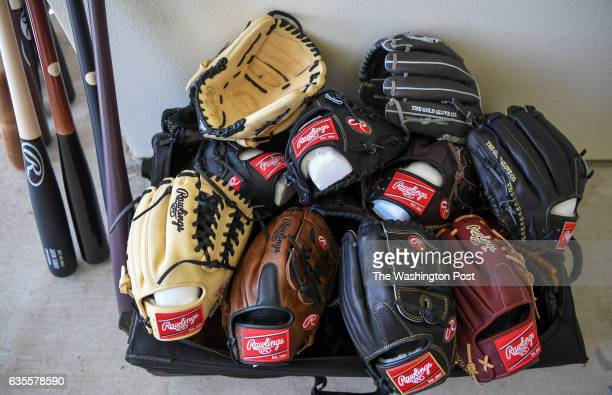A pile of new gloves are piled outside of the Washington Nationals clubhouse as players report for spring training at the Ballpark of the Palm...
