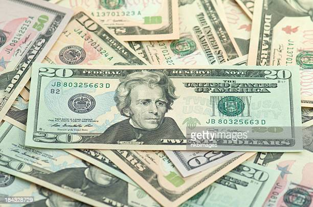 pile of new series american money twenty on top. - number 20 stock pictures, royalty-free photos & images