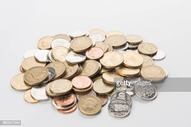 A pile of New Zealand dollar coins