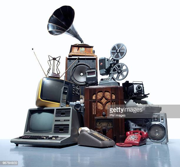 pile of old technology - manufactured object stock pictures, royalty-free photos & images