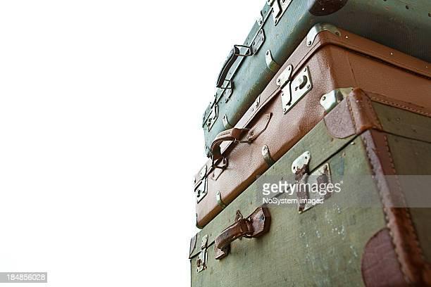 Tas de vieilles valises vintage-bagages