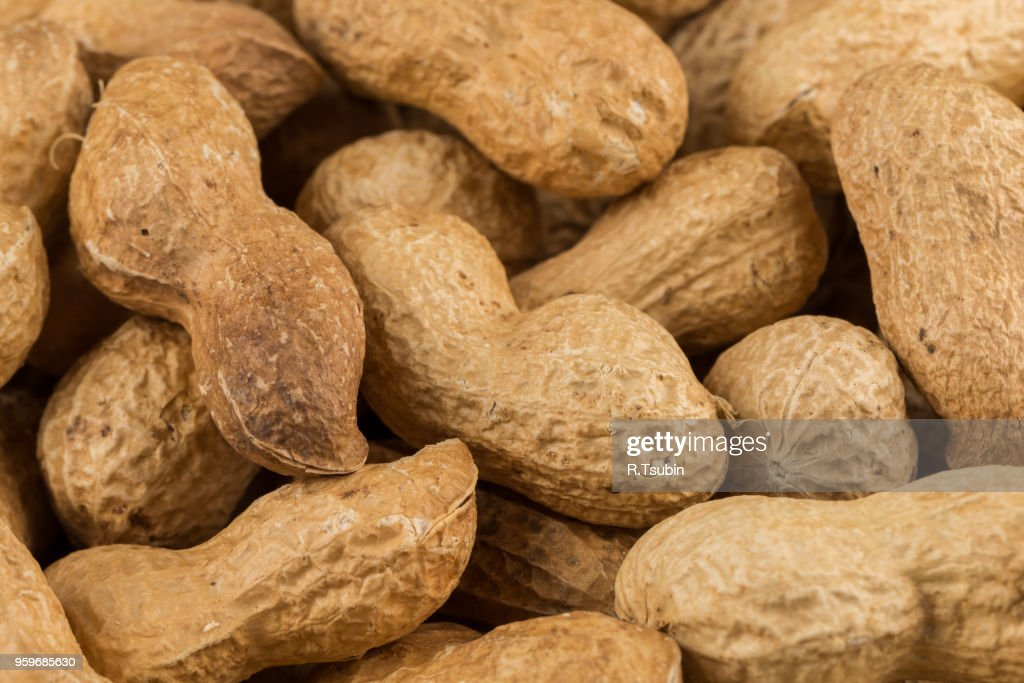 Pile of peanuts shells close up for background : Stock-Foto