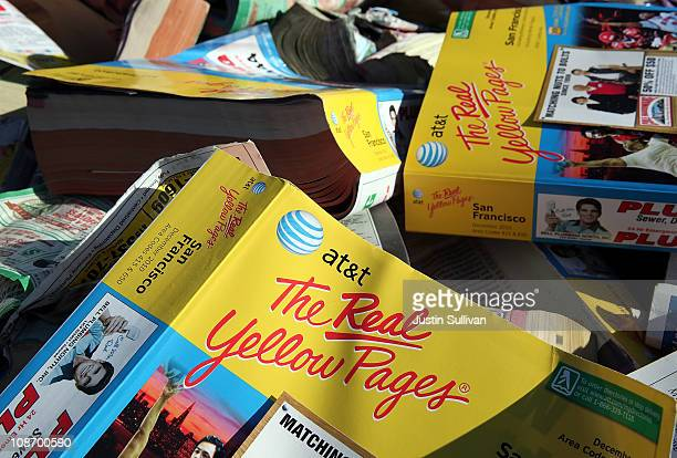 A pile of phone books sits in the back of a pickup truck during a press conference on February 1 2011 in San Francisco California San Francisco Board...