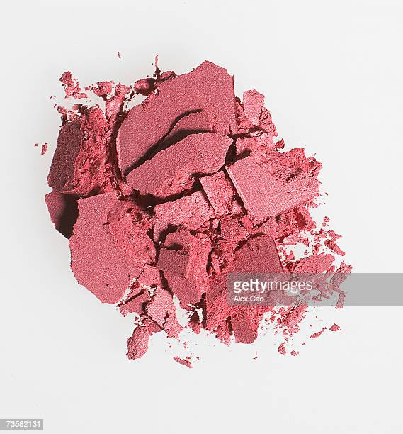 Pile of pink eye shadow, overhead view
