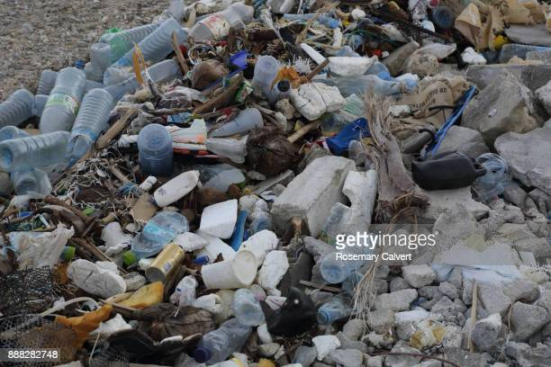 heap plastic bottles polystyrene garbage removed