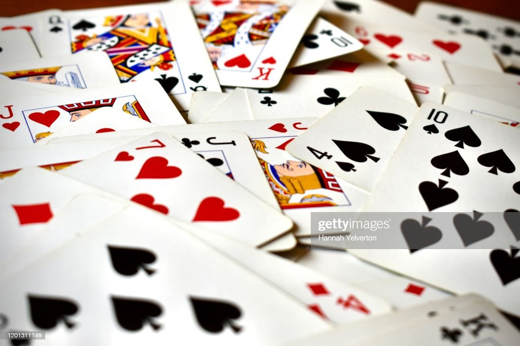 Pile of playing cards face up : Stock Photo