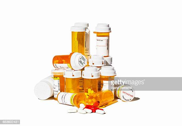 Pile of Prescription Pills and Bottles