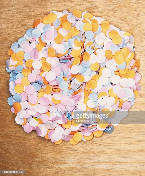 Pile of punched paper dots, overhead view