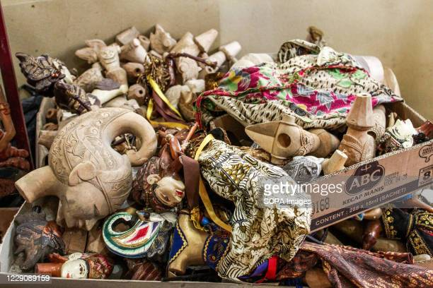 A pile of puppets that are yet to be painted in Cupumanik Gallery Cupumanik Puppets Gallery which was founded in 1970 has exported puppets various...