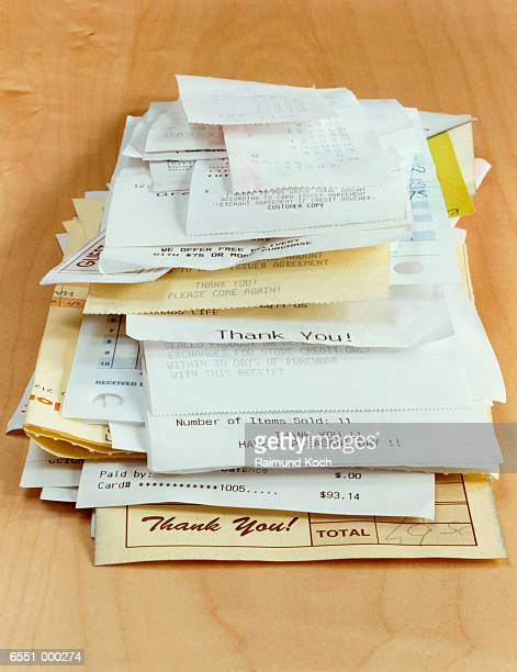 pile of receipts - receipt stock pictures, royalty-free photos & images