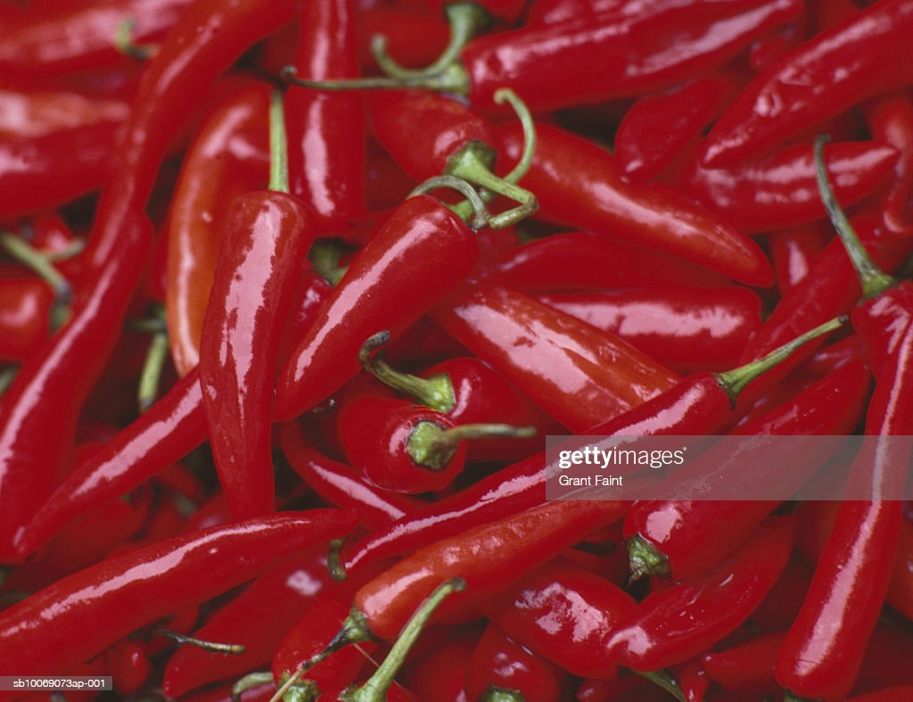 Pile of red chilies, close up : Stockfoto