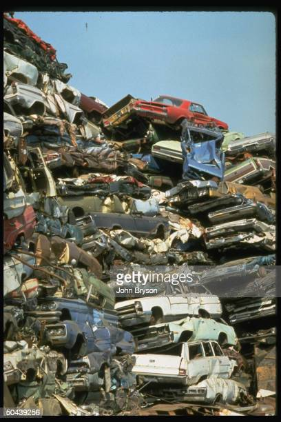 Pile of scrapped cars