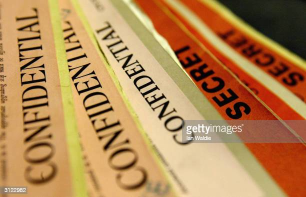A pile of secret and classified documents are released from The National Archives March 23 2004 in London Dozens of documents including classified...