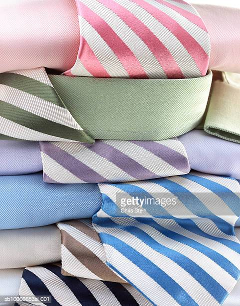 Pile of shirts and ties, close-up