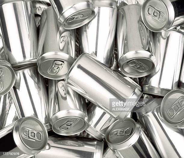 pile of silver aluminum soda cans without labels - tin can stock pictures, royalty-free photos & images