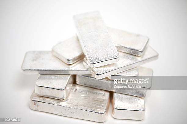 pile of silver ingots - silver metal stock pictures, royalty-free photos & images