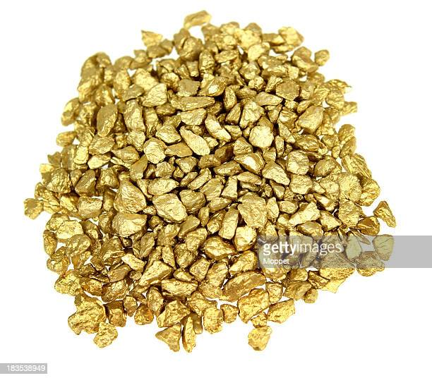 A pile of small and medium gold nuggets