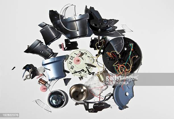 Pile of smashed clock parts