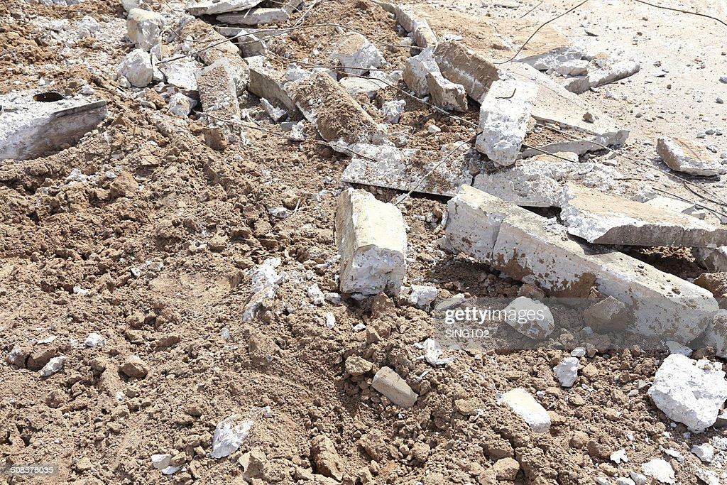 pile of smashed concrete : Stockfoto